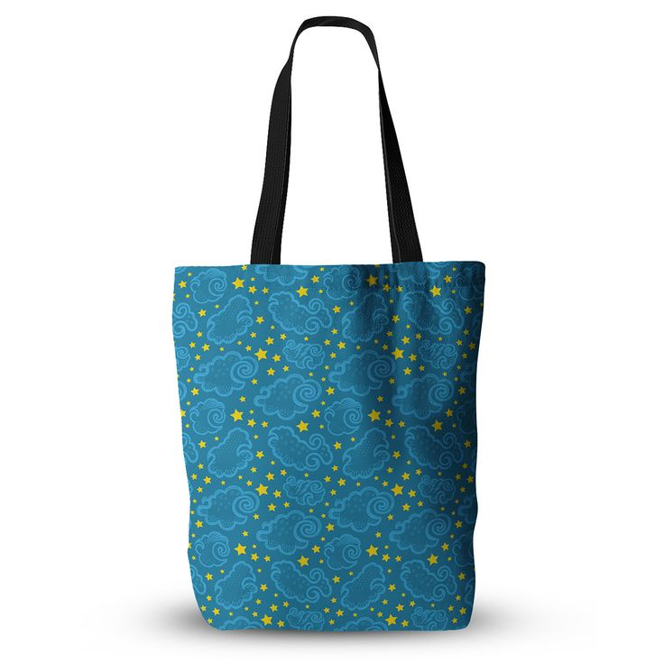 """Yenty Jap """"Starry And Cloudy Night"""" Blue Yellow Everything Tote Bag from KESS InHouse"""