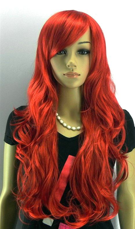 Super Long curly Red wig.  Lolita Hair. Synthetic wig -high quality wig - Ready to ship on Etsy, $65.00