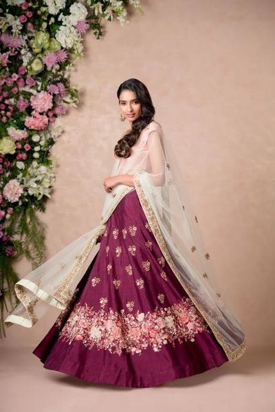 Sangeet Lehengas - Burgandy Lehenga with Pink Embroidery and Mint Blue Lehenga | WedMeGood #wedmegood #indianbride #indianwedding #burgandy #sangeetlehengas #lehenga #bridal