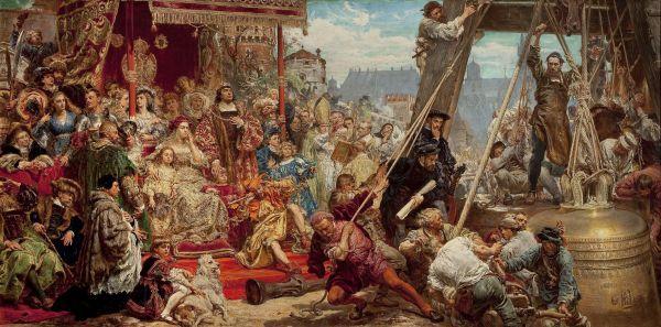 Zawieszenie dzwonu Zygmunta na wieży katedry w Krakowie w 1521 roku - Jan Matejko