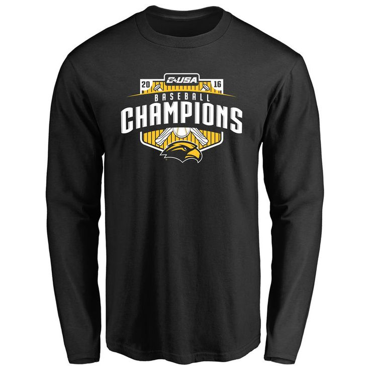 Southern Miss Golden Eagles 2016 Baseball Conference USA Tournament Champions Long Sleeve T-Shirt - Black
