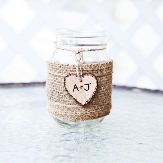 Personalized Rustic Burlap Glass Mason Jar Flower Vase Wedding Centerpiece Table Number Custom Decoration Sign on Etsy, $10.00