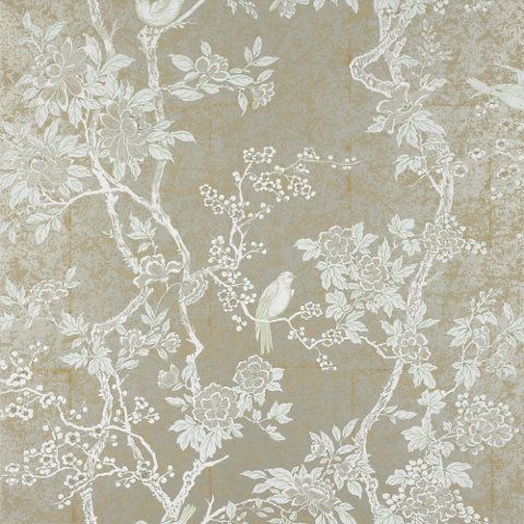 This would brighten a dark hallway - Ralph Lauren Chinoiserie wallpaper: MARLOWE FLORAL - STERLING