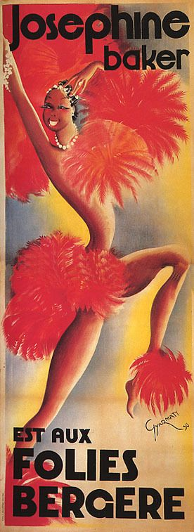 Josephine Baker Show Folies Bergere Dance French Vintage Poster Repro
