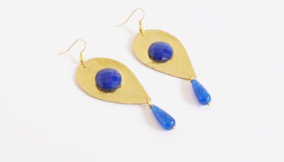 Messing Ohrringe blaue Jade Ohrringe Jade Tropfen Ohrringe