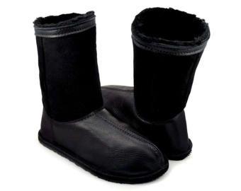 "Sheepskin Boots - Winter Boots - Warm Boots - Black Leather Boots - Minimalist Boots - Zero Drop Boots - Adult Softstar ""Phoenix"" Style"