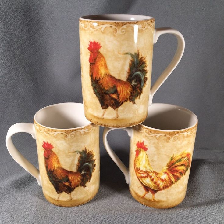 3 ~ 222 Fifth Fine China Mugs Rustic Rooster #222Fifth