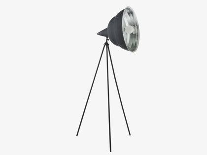This lightweight Photographic black metal giant floor lamp is a functional, bold statement piece inspired by industrial studio lighting.