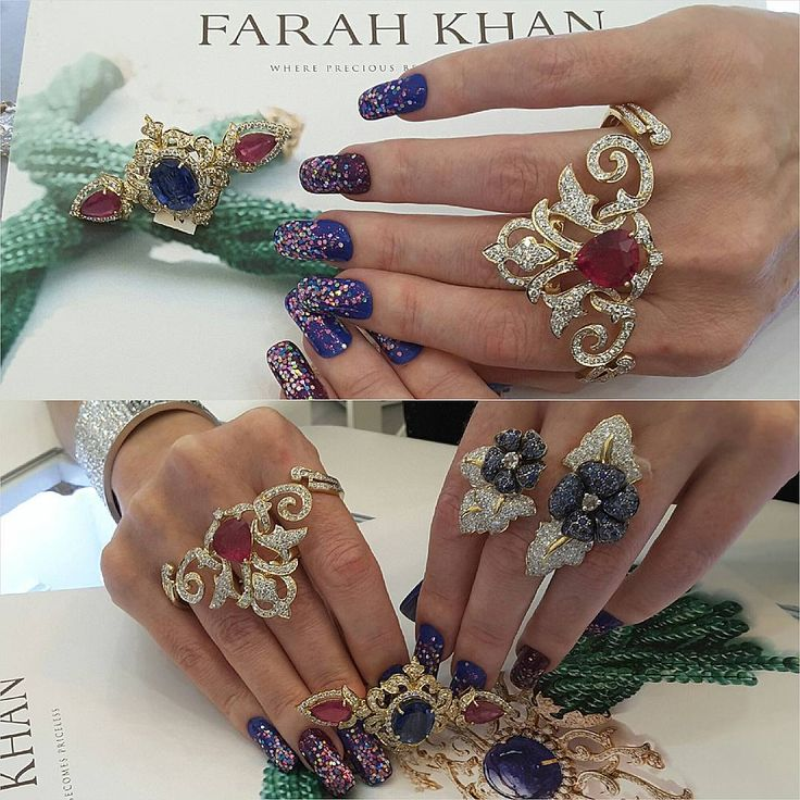 """""""I had 12 #jewelgasms when I tried on these incredible @farahkhanfinejewellery @farahkhanali rings at her beautiful booth at #jewelleryarabia2015 #bahrain…"""""""