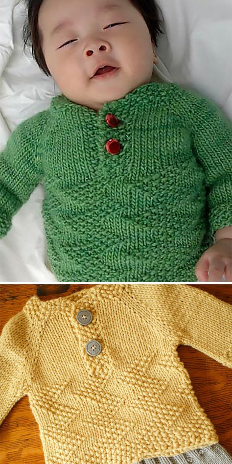 Free Knitting Pattern for Easy Baby Henley Sweater ...