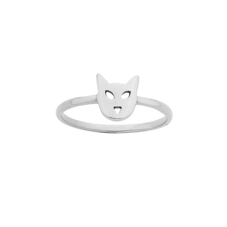 Mini Cat ring - $59. Thin and delicate ring crafted in 925 sterling silver, with small cat head feature detail. KW and 925 stamped on the inside of ring. Lovingly created by New Zealand clothing and accessories designer label Karen Walker. www.savethelastpinker.com.au/shop/mini-cat-ring/