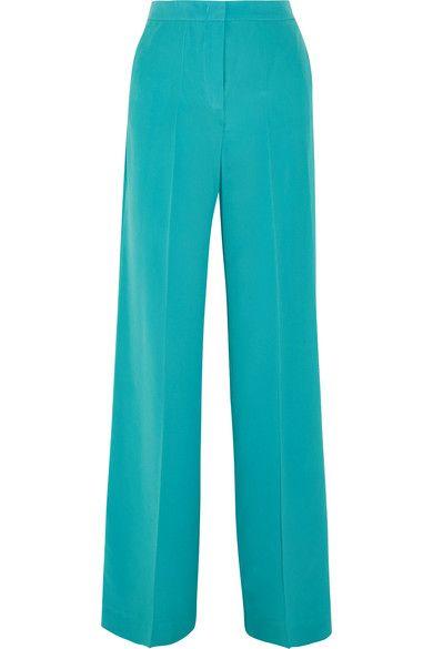 Etro - Silk Crepe De Chine Wide-leg Pants - Blue - IT40