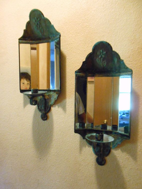 Mirrored Wall Sconces Candle Holder : Vintage Pair of Mirrored Wall Sconce, Candle Holders, Rust and Turquoise Vintage, Wall sconces ...