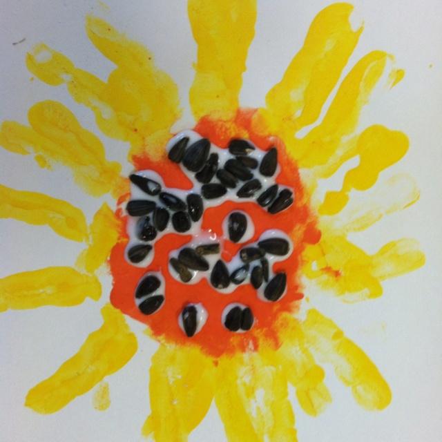 Sunflower handprint - great for Kansas Day