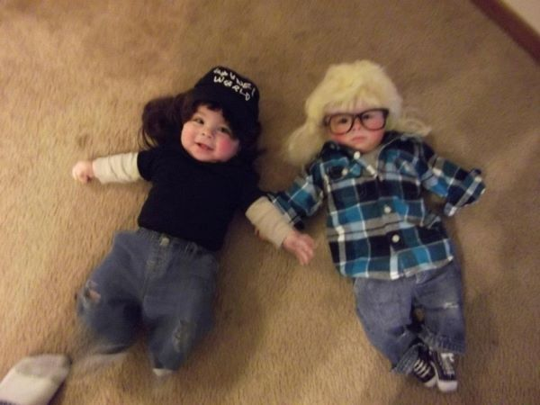 """Party on Wayne! Party on Garth!"" lol Great costumes for babies & parents who were children of the 80's & can really appreciate these costumes! lol #HalloweenCostumes"