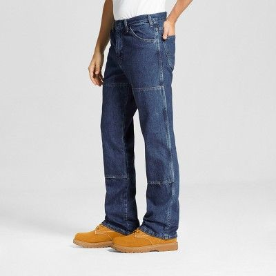 Dickies Men's Relaxed Straight Fit Double Knee Denim 6-Pocket Jean- Stone Washed 42x30, Durable