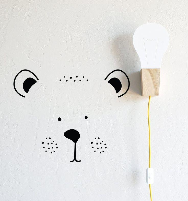 Bear Face - Die Cut Decal - WALL DECAL #animal-wall-decal #animal-wall-decor #animal-wall-sticker