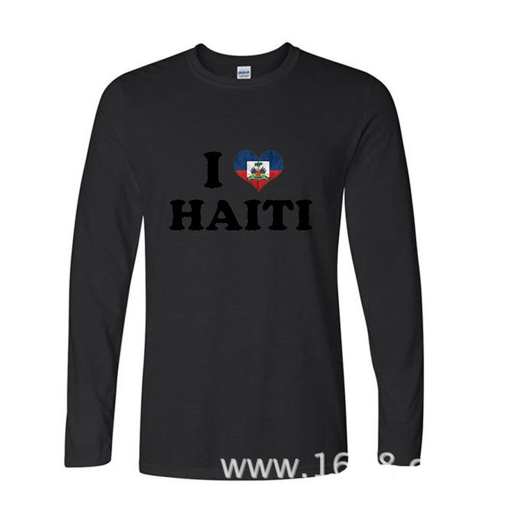 ==> [Free Shipping] Buy Best 2017 Various Colors Funny Cotton Love Heart Haiti flag funny Long TShirts Long Sleeve T Shirt Online with LOWEST Price | 32806581420