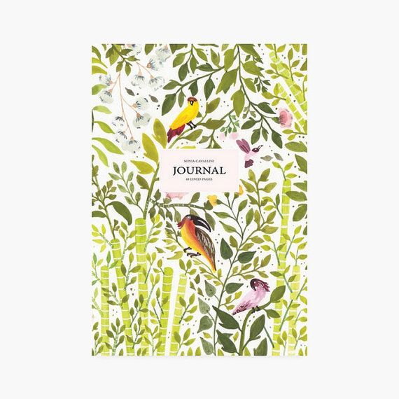 Journal Notebook diary exotic bird A5stationery par SoniaCavallini