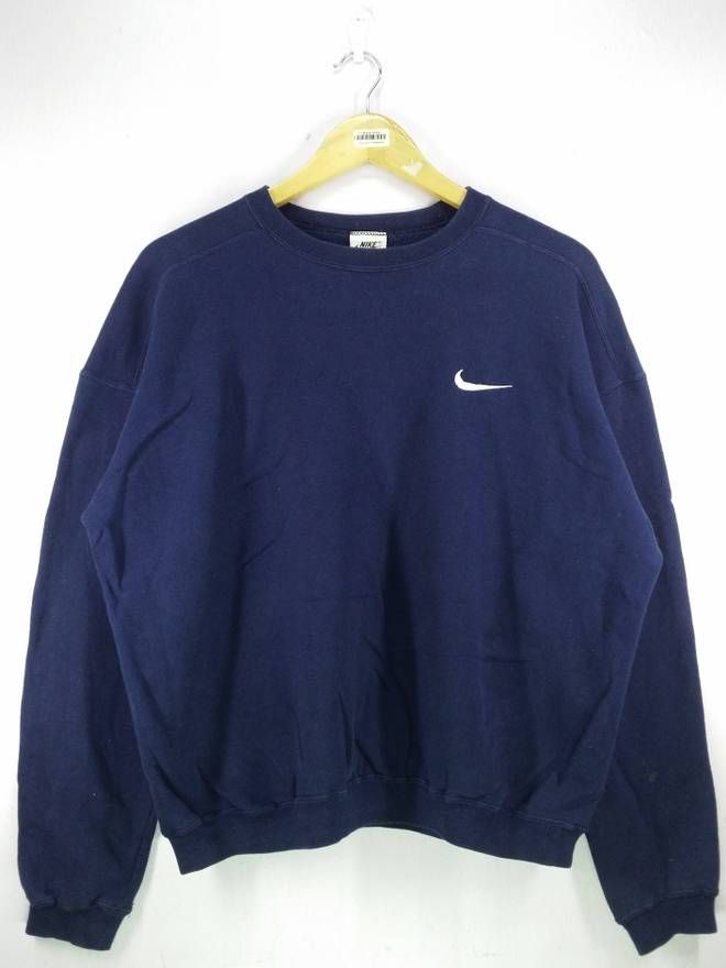 Nike Nike Small Swoosh Logo Embroidery Sweatshirt Jumper Pullover Size Extra Large Size Xl 24 Vintage Nike Sweatshirt Vintage Hoodies Nike Outfits