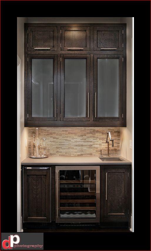 Good Wet Bar Showing Upper Cabinets, Backsplash, Wine Fridge, Small Sink.