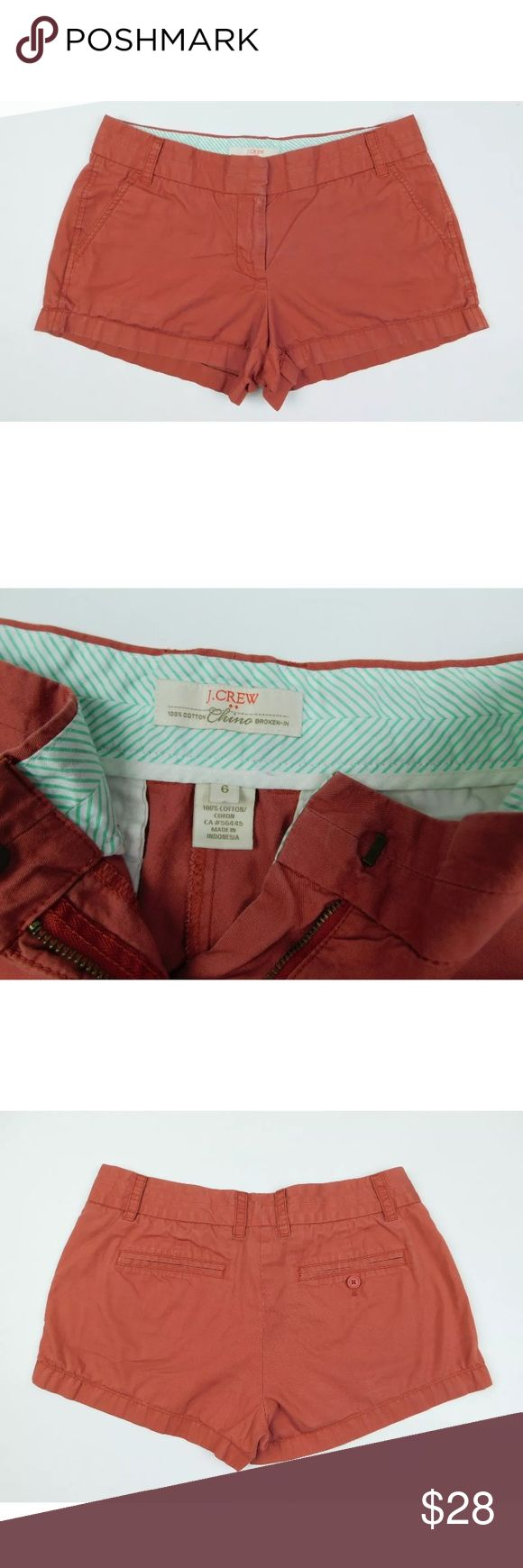 🌼J. Crew🌼 Chino Broken In Faded Red Pants Sz 6 Excellent used condition. Perfect for spring and summer days. Feel free to make an offer or bundle and save! J. Crew Shorts Bermudas