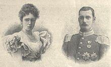 RUPPRECHT DI BAVIERA CON LA PRIMA MOGLIE  MARIA GABRIELLA DI BAVIERA SPOSATA NEL 1900.DA QUESTO MATRIMONIO 5 FIGLI