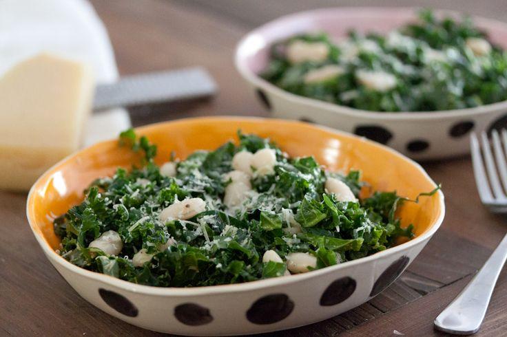 Raw Kale Salad with Lemon, Parmesan and Cannellini beans: Healthy Eats, Kale Salads, Raw Kale, Vegan Recipes, Recipes Salads, Cannellini Beans, Lemon