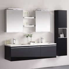 EAGO Design Unterschrank Milano ME-1600+ (schwarz) 160x45cm inkl. Doppel-Waschbecken und 2x Spiegelschrank/Licht-24346847
