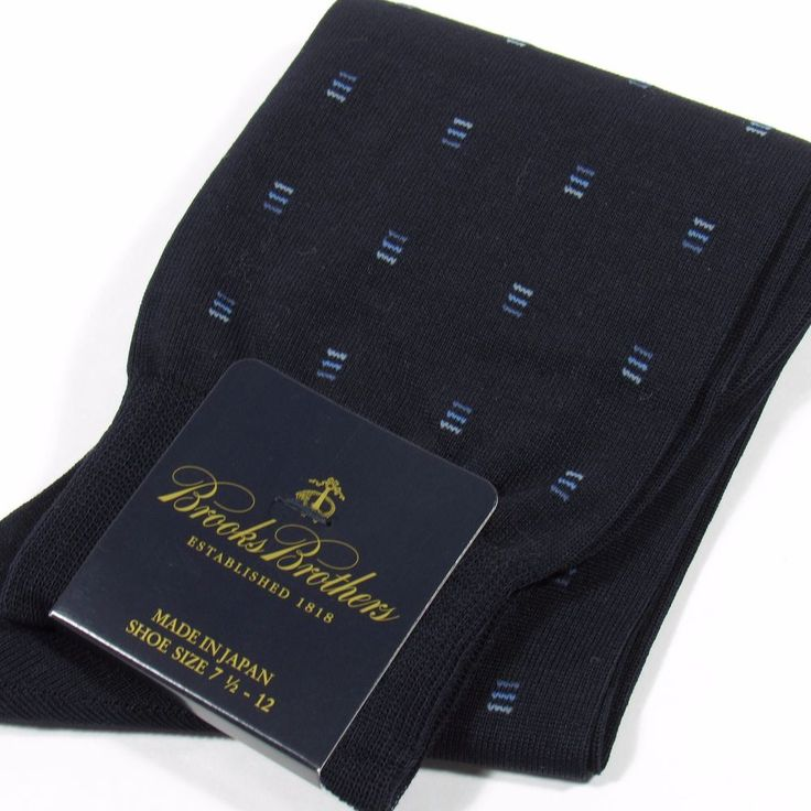 BROOKS BROTHERS Men's Neats Pattern Dress Socks NAVY BLUE Made in Japan O/S NWT #BrooksBrothers #Dress