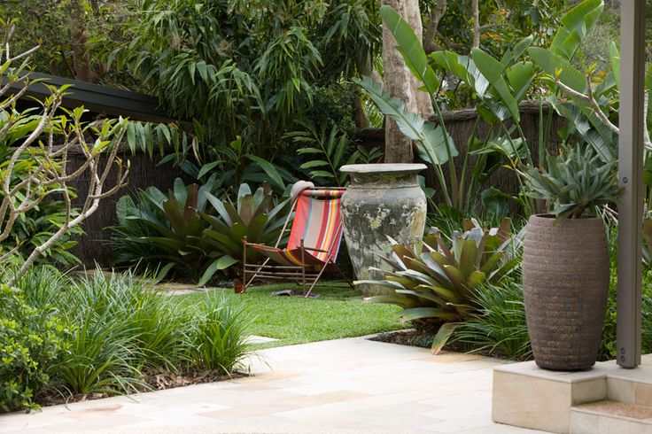 Subtropical feel with bold, large leaves for the area near the main door