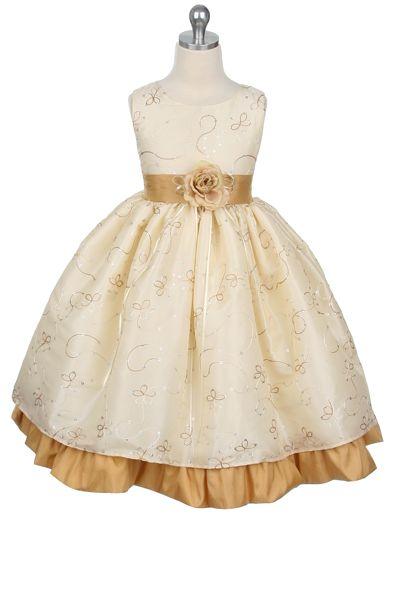 Ivory Embroidered Taffeta Flower Girl Dress