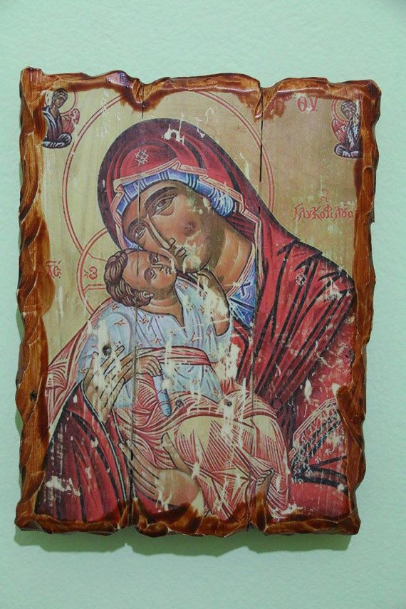 Blessed virgin Mary (the sweet kisser). Handmade in Hellas-Greece. Dimensions: 7,85 x 11,80 inches / 20 x 30 cm