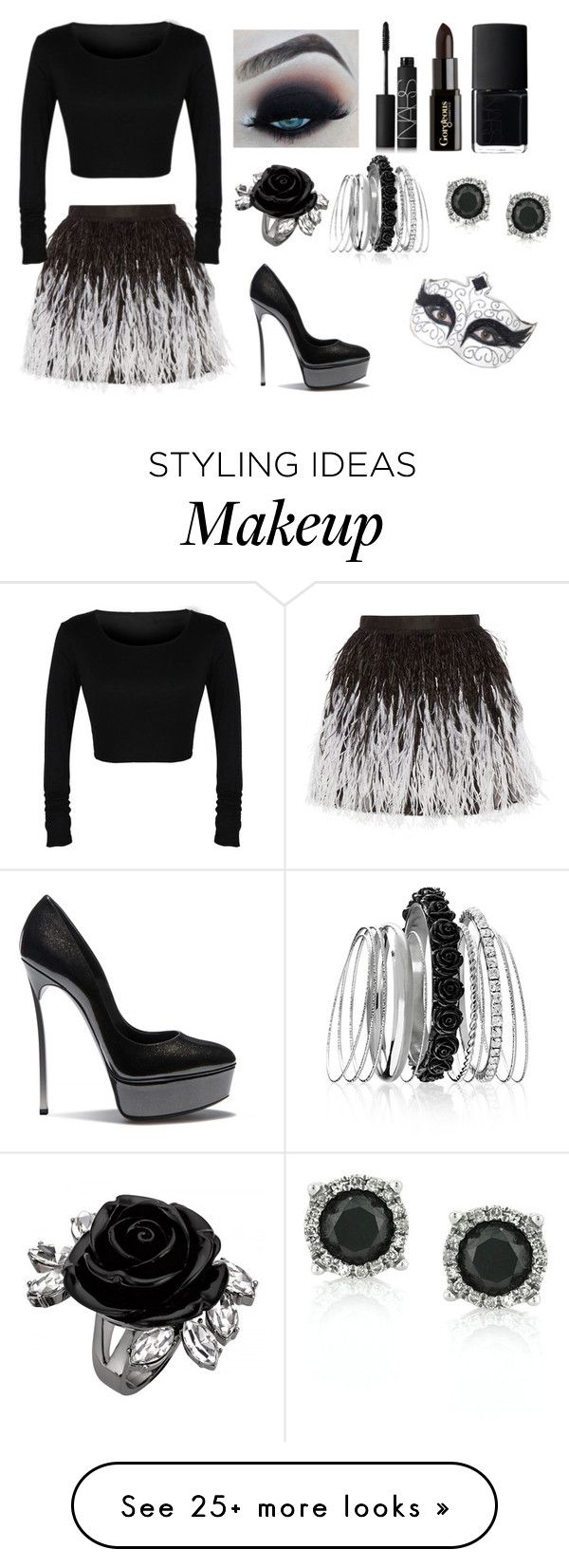"""""""Black Swan"""" by amelia-rick on Polyvore featuring Alice + Olivia, NARS Cosmetics, Gorgeous Cosmetics, Avenue, Mark Broumand and Casadei"""