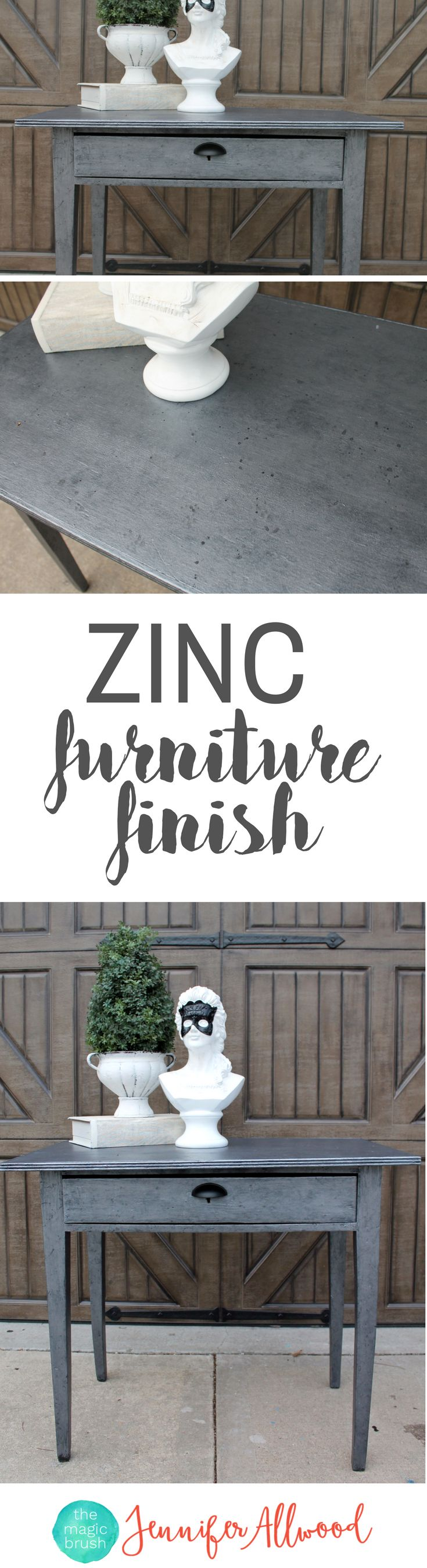 How to paint a Zinc Furniture Finish | Silver Painted Furniture Ideas | DIY Furniture Finish | Restoration Hardware inspired faux zinc finish | Furniture Painting Tutorials and DIY Video by MagicBrushinc.com