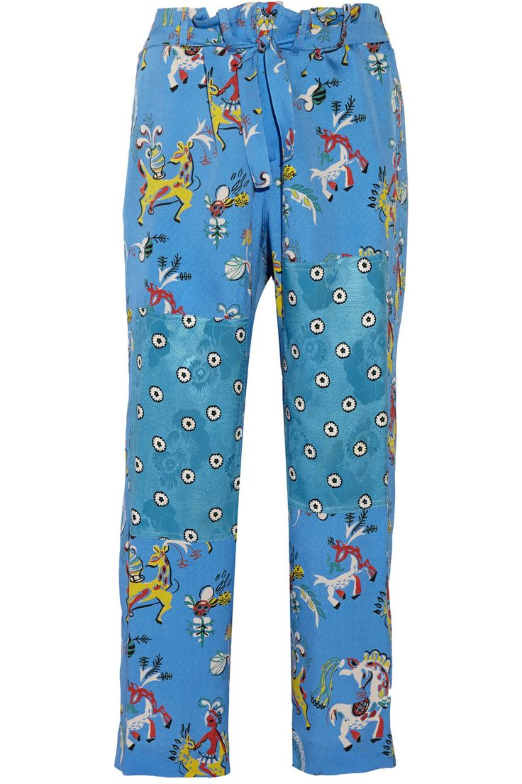 EtroCropped printed silk wide-leg pants