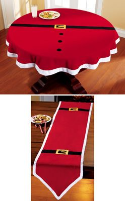 Santa Belt Decorative Holiday Table Linens-buy red tablecloth/runner and make myself. Sooo cute!!