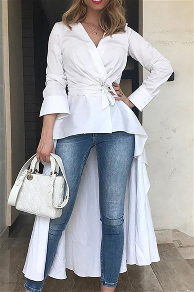 686d4e36bc14d3 Irregular Hem Fishtail Top With Belt in 2019 | Top | Fashion, Shirt blouses,  Long blouse