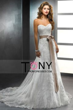 Pretty Sweetheart Trumpet Wedding Gown With Detachable Sash $249.99 TPPJ39F1NZ - TonyPromDresses.com for mobile