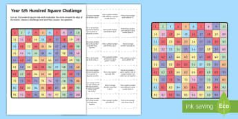Year 5/6 Hundred Square Challenge Activity Sheet - Australian Curriculum Number and Algebra, year 5, year 6, year 5/6, worksheet, year 5/6 maths, hundr