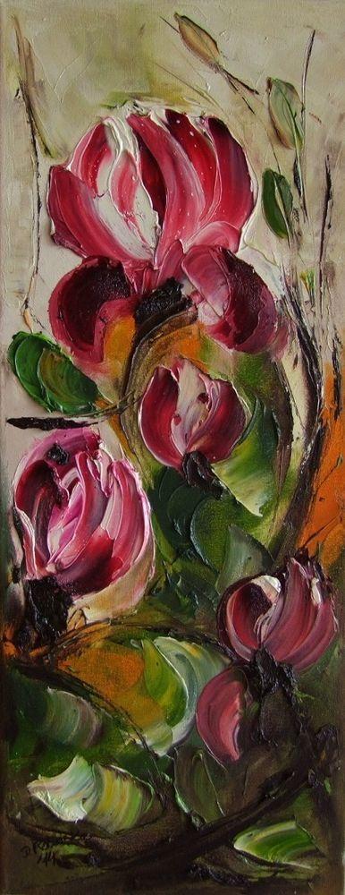 Pink Magnolia Flowers Original Oil Painting Textured Palette knife Europe Artist #Impressionism