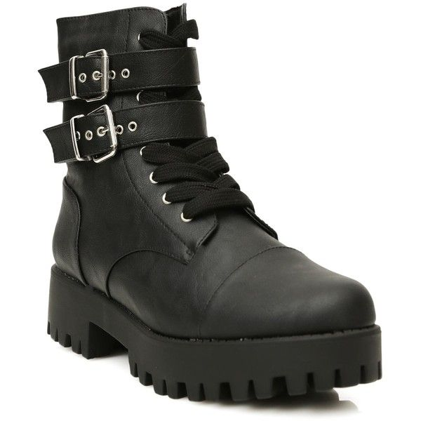 Buckle Lace Up Black Combat Boots (490 SEK) ❤ liked on Polyvore featuring shoes, boots, zip boots, lace up combat boots, military lace up boots, buckle combat boots and combat boots