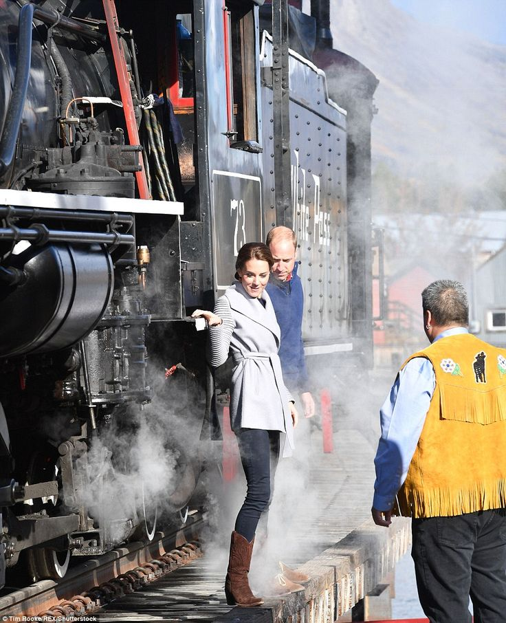In a spur of the moment decision, the duke and duchess peered inside the cab of the vintage locomotive