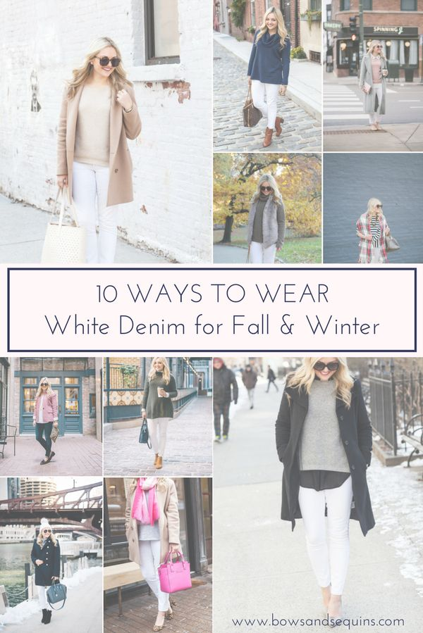 10 Ways to Wear White Denim for Fall & Winter | bows & sequins