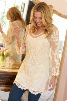 Lace Tunics - not sure if the neckline will really work - something about it makes me wary - but it could be perfect.  Love everything else about this top