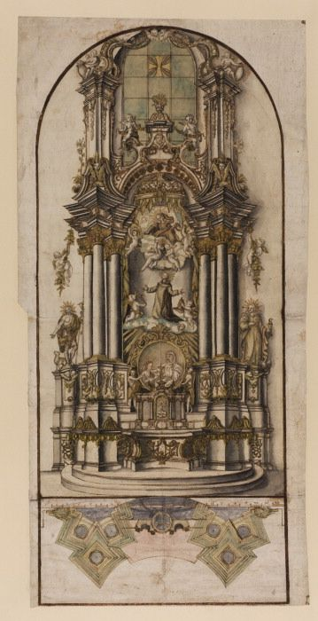 """Plan and Perspective View of an Altar"" by an unknown South German or Austrian artist (early 18th century) at the Courtauld Gallery, London"