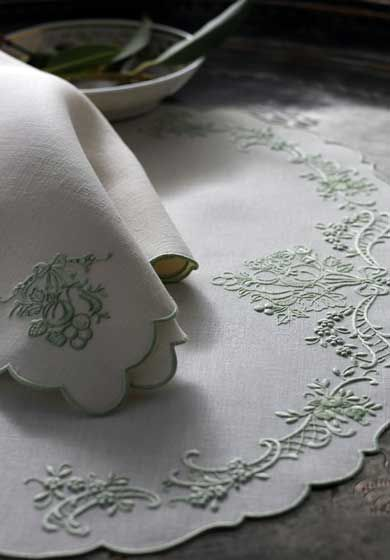 Custom tablecloths, placemats & napkins | Luxury Table Linens by Léron | Toile Fruit pattern.