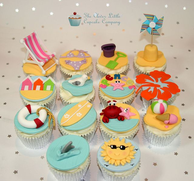 Beach Cupcakes by The Clever Little Cupcake Company (Amanda), via Flickr