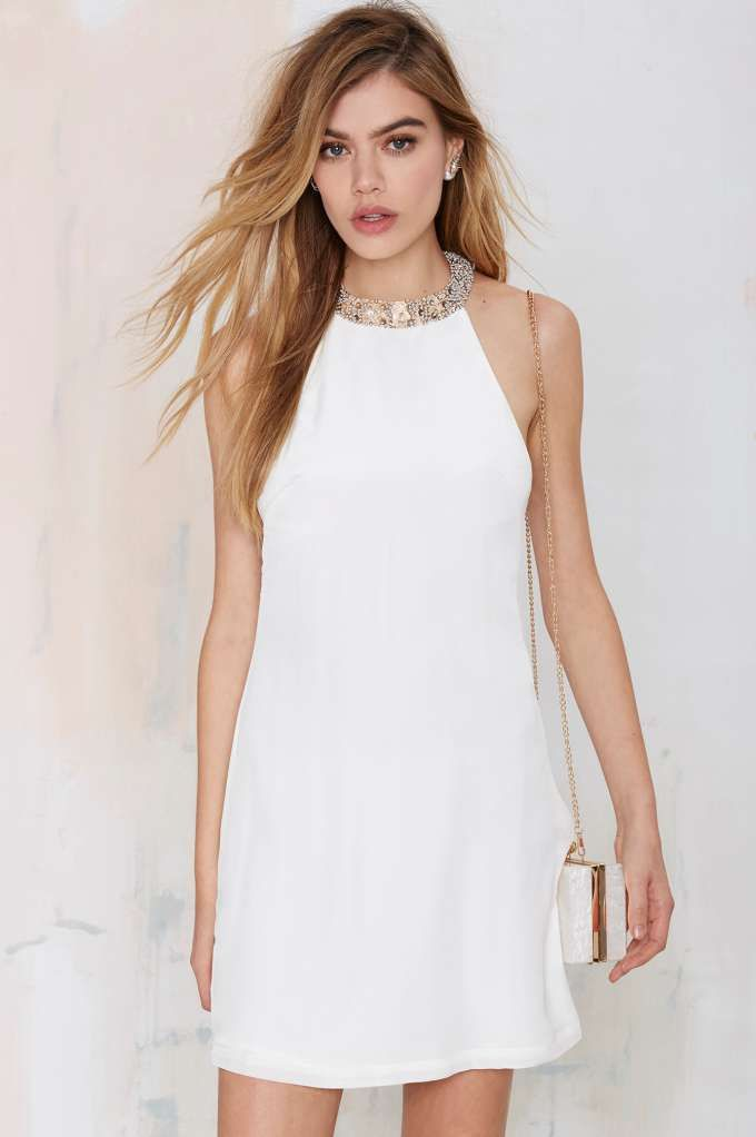 White Beaded Silk Dress