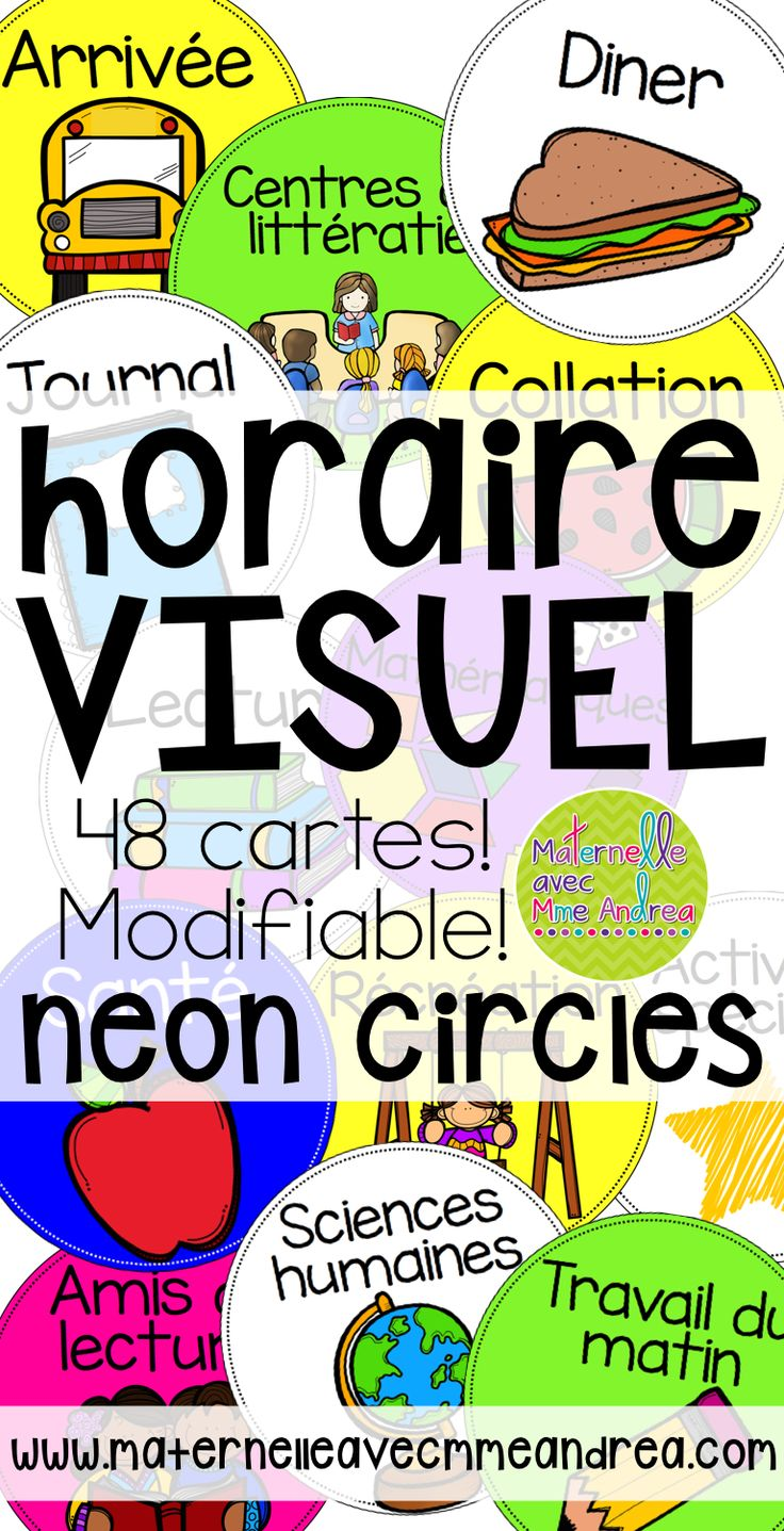 FRENCH visual schedule - neon circles - These visual schedule cards are bright and beautiful. They will help you organize your day, and show your students what will be happening next. 48 schedule cards included, as well as a blank editable card for each colour in case I missed anything!